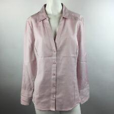 Liz Claiborne Women XL Button Down Shirt Top Pink Floral Embroidered Long Sleeve