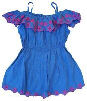 Girls Monsoon Pink Trim Cold Shoulder Chambray Sun Dress 3 to 12 Years