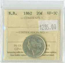 1862 New Brunswick Canada 20 cent ICCS VF 30