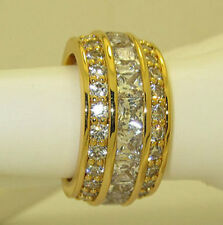 infinity ring yellow gold plate eternity cz wide band quality nwt 4 5 6 7 8 9 10