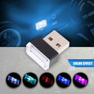 1pcs Ice Blue Mini USB LED Light Colorful Light Lamp For Car Atmosphere Lamp