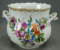 Dresden Carl Thieme Hand Painted Flowers Floral Encrusted & Gold Cache Pot B