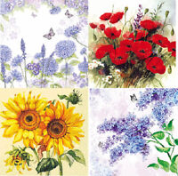 4 x Single Table Paper Napkins,Decoupage/Dining/Craft/Vintage/Mixed Flowers