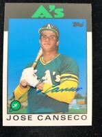 JOSE CANSECO 1986 TOPPS AUTOGRAPHED SIGNED AUTO BASEBALL CARD 20T A'S