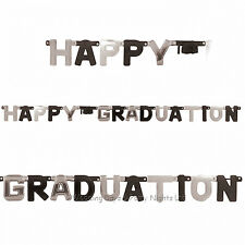 8ft Large Happy Graduation Black + Silver Jointed Letter Banner Party Decoration