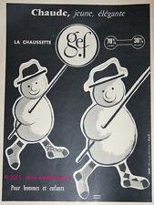 PUBLICITE ANCIENNE DE 1957 CHAUSSETTES GEF RAULT BONHOMME NEIGE AD STOCKS