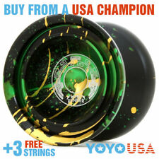 Duncan Wind Runner Metal Yo-Yo YoYo  - Black/Green/ Gold 9256SE-P + FREE STRINGS