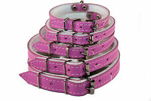 REAL LEATHER PUPPY DOG KITTEN CAT COLORFUL COLLARS PINK