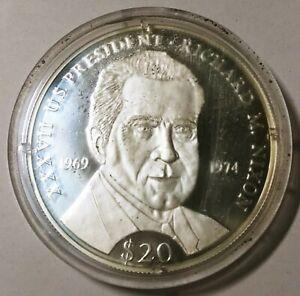 2000 Republic of Liberia $20 The Presidents of U.S. NIXON  20g .999 Fine Silver