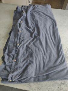 Coyuchi F/Q Organic Cotton Duvet Cover Solid Blue Full Queen Button Close