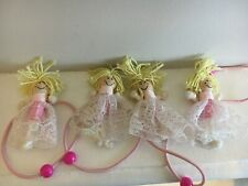 GIRLS PINK RAG DOLL HAIR ELASTIC TIES X 4