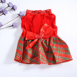 Pet Puppy Clothes Dog Red Grid Dress Christmas Clothe Costume Heart Bow Apparel
