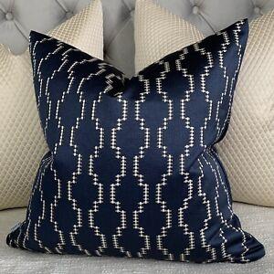 "Nash Jacquard Cushion Cover 16"""" Made In Ashley Wilde Fabric Navy Geometric"