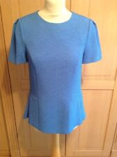 LOVELY AUSTIN REED BLUE SHORT SLEEVE TEXTURED TOP UK SIZE 10 BARELY WORN