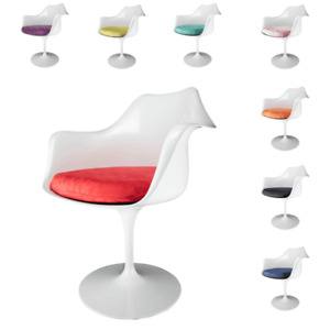 Set of 4 Glossy White Dining Tulip Style Armchairs with Luxurious Seat Cushion