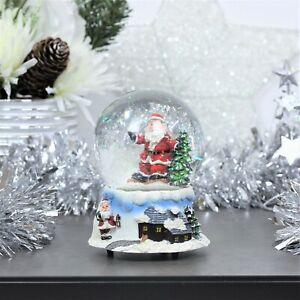 Christmas Decoration Wind Up Musical Santa Claus Snow globe Shake Glitter Dome