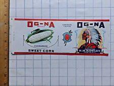 1930s Og-Na Brand Sweet Corn Can Label. E. H. Rowley,  Fabius, N.Y.  4  x 11 1/4