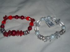 Set Lot 2 Stretch Nicole Arm Bracelets Red White Faux Pearl Rhinestones 1 NWT *
