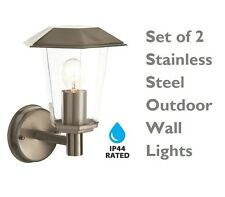 Set of 2 Modern Stainless Steel IP44 Outdoor Garden Lantern Wall Light Lamps NEW