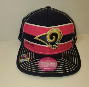 NFL St. Louis L.A. Rams Hat Reebok On Field Breast Cancer Awareness sz Lg/Xl New