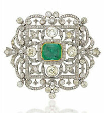 Green Radiant White Round Vintage Design Women Brooch Pin In 925 Sterling Silver