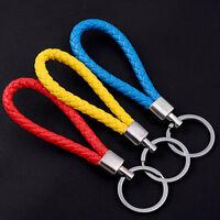 Men Leather Key Chain Ring Keyfob Car Keyrings Keychain Gifts FO