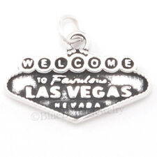 WELCOME to FABULOUS LAS VEGAS Charm casino Sign Pendant in 925 STERLING SILVER