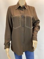 Zara Oversized Brown Boho  Elegant Long Sleeve Button Up Shirt Blouse Size M