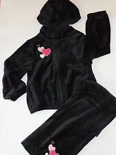 GYMBOREE GIRLS VELOUR HOODIE SET PANTS 5T BLACK PINK HEARTS TRES CHIC VALENTINES