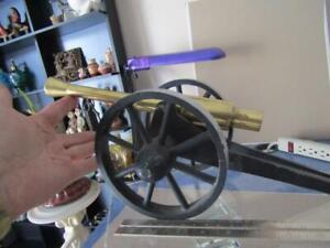 """Miniature Large  Brass Cannon  Toy 20"""" Long Cannon 12"""" Long Weight 5+ lbs"""