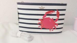 NWT Kate Spade Shore Thing Crab Sima Clutch Crossbody Cement Stripe Red PXRU8711