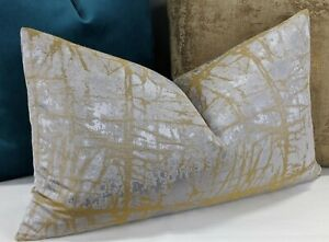 "John Lewis Handmade Kyla Cushion Cover Silver Gold 12""x20"""