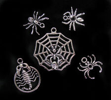 5pcs Spider Scorpion Silver Pendant Charm Good Luck Bracelet Set Jewelry Gothic