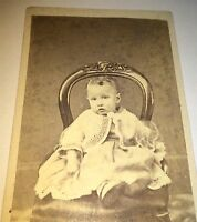 Antique Civil War Era American Fashion Child Posed Sweetly on Chair NY CDV Photo