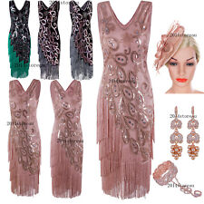 1920s Vintage Flapper Dress Gatsby Wedding Ladies Fringe Dress 20s Party Costume