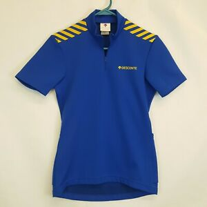 Vtg Descente Japan Made Wool Blend Cycling Jersey Sz Small S Blue Yellow