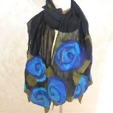 """LeBeau Womens Scarf Handmade Silk Chiffon w Marino Alpalca Polwarth Wool USA 70"""""""
