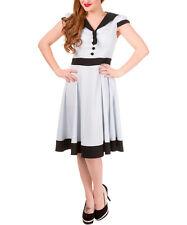 Banned Apparel Light Blue & Black Button- Front A -Line Dress Size M  NEW