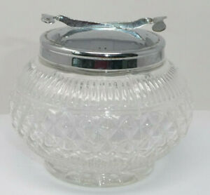 Vintage Glass Sugar Bowl and Lid with Integrated Extending Tongs