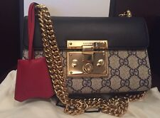 NWT Gucci Padlock GG Supreme Shoulder Bag Gold Handbag Crossbody $1690