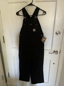 Carhartt Youth Size 10 Overalls Quilted Lined Inside