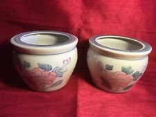 PAIR OF CHINESE  PLANTERS JARDINIERES POT PLANT HOLDERS  21 cm / 8.25 inches.