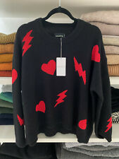 ZADIG & VOLTAIRE Black Red Heart 100% Cashmere *MARCUS* Sweater Size S
