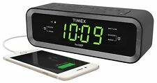 Timex T236BQX FM Dual Alarm Clock Radio with USB Charge Port – Black