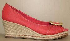 Naturalizer Coral Fabric Peep Toe Raffia Wedge Pumps Sandals Shoe Women's Sz 7 M