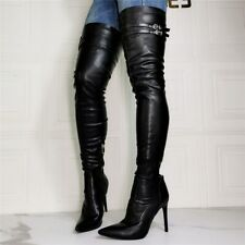 UK8 Women Stiletto High Heel Pointed Toe Over Knee Thigh High Boots Leather Club