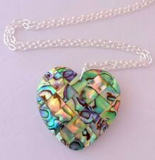 "new abalone shell heart pendant necklace silver plated 20"" chain necklace"