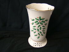 "Lenox Hollyberry Vase 8 1/2"" H x 5 1/4"" W Gold Rim Pierced Holly Detail VGC"