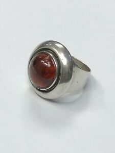 Vintage Danish  silver (Neils Erik)  N.E. From Amber Cabochon Ring. Size P 1/2