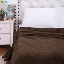 Flannel Fleece Blanket Brown King Size Lightweight Cozy Plush Microfiber Comfort